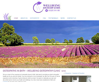 Web design in Bath, wellbeing featured website