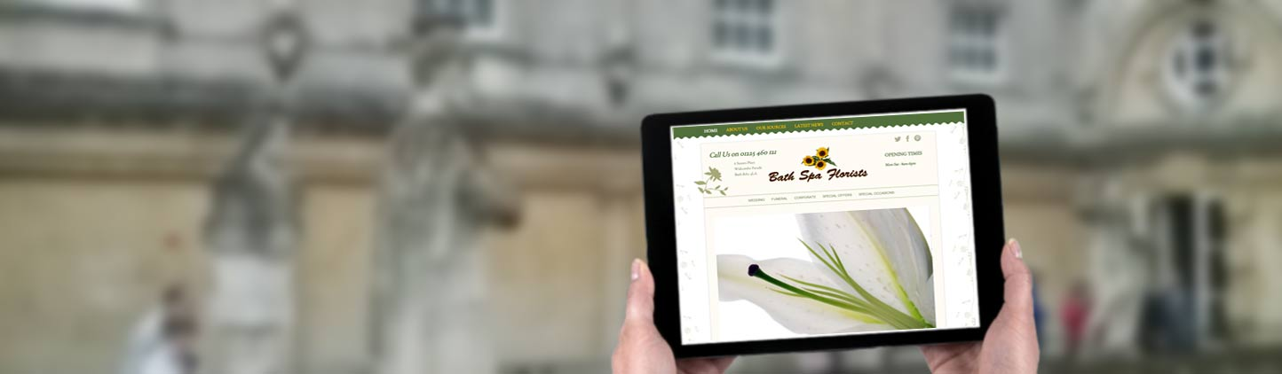 ipad featuring Bath Florist website design