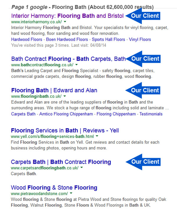 Examples of Bath Business Web's front page results for their clients